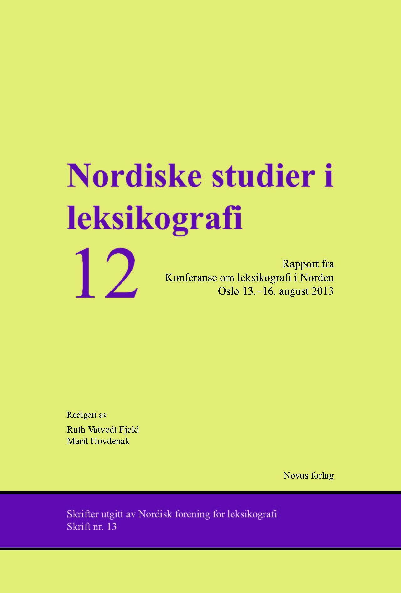2013: Nordiska Studier i Lexikografi 12