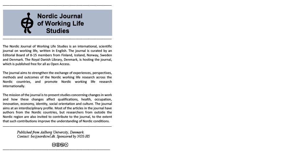 Nordic Journal of Working Life Studies