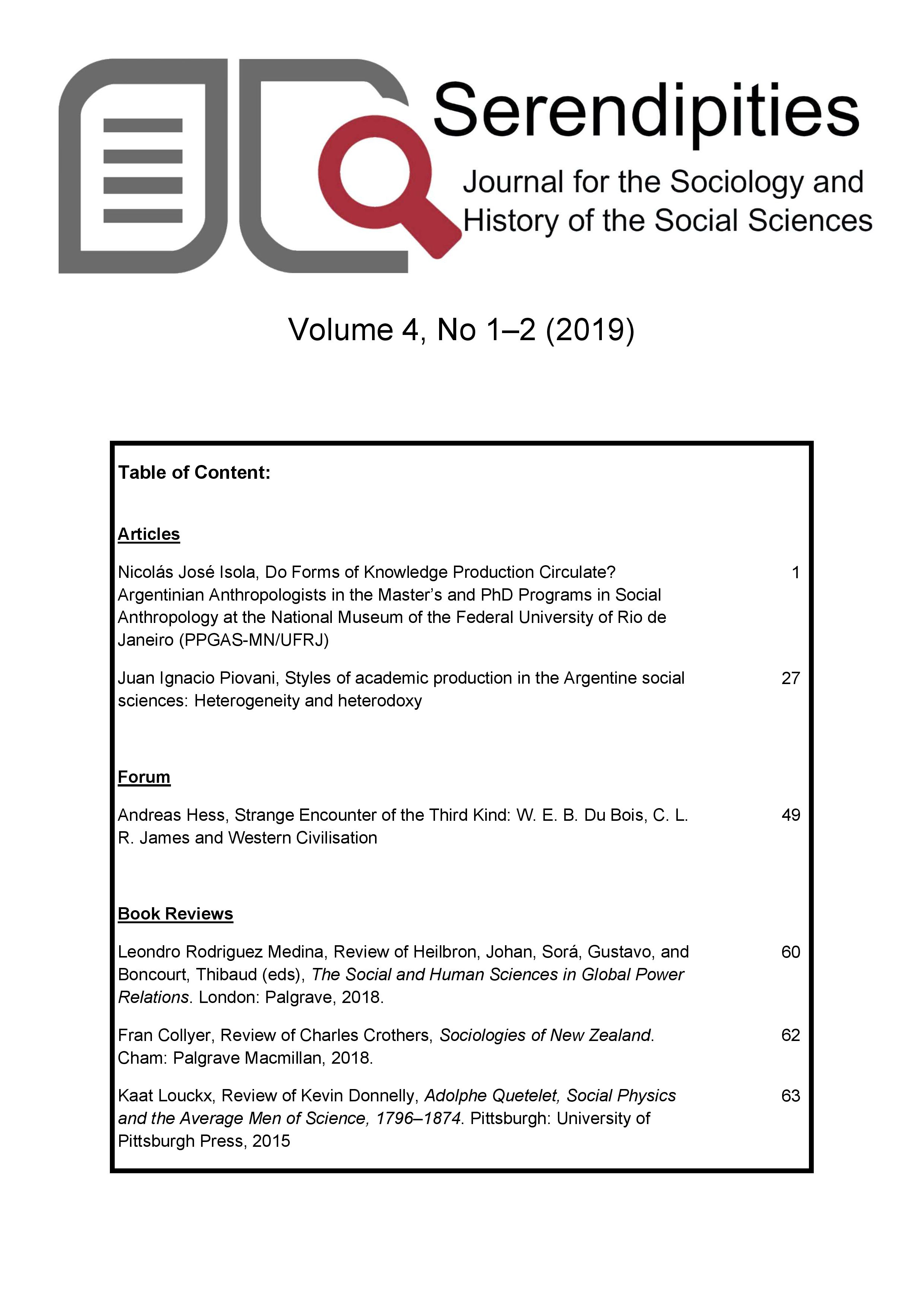 View Vol. 4 No. 1 (2019): Serendipities. Journal for the Sociology and History of the Social Sciences