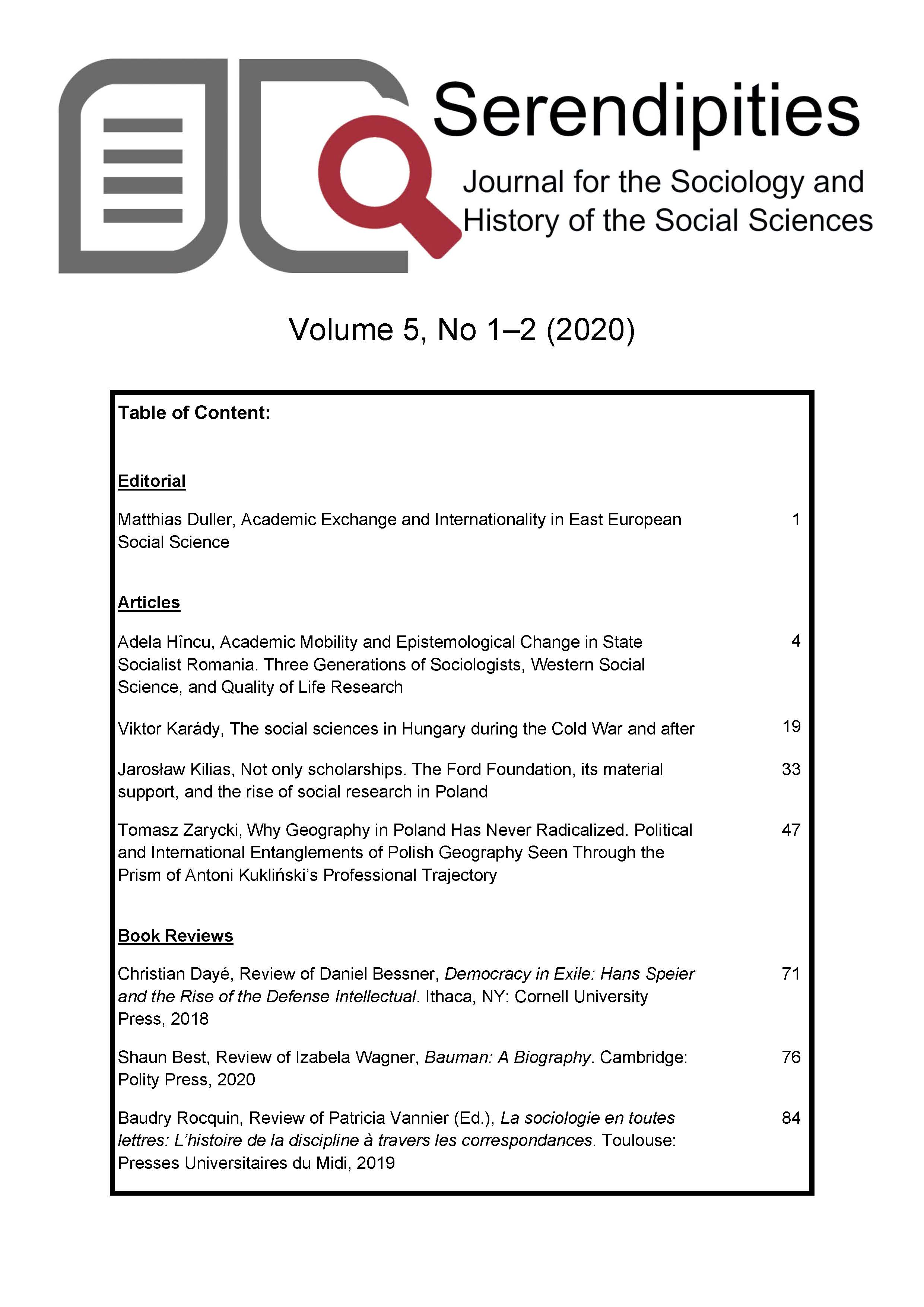View Vol. 5 No. 1-2 (2020): Serendipities. Journal for the Sociology and History of the Social Sciences