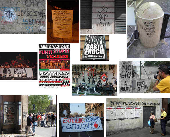 "This picture presents a collage from photos by Paolo Favero which present aspects of what might be seen as today's ""fascist Rome"""